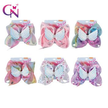 "8"" Large Wing Hair Bows Girls Rhinestone Rainbow Unicorn Bow-knot Ribbon Hair Bows With Clip Kids Handmade Hair Accessories"