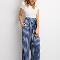 Striped Self-Tie Waist Pants
