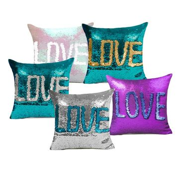 Comwarm Special Two Tone Glitter Mermaid DIY Cushions Sequins Glitter Shinning Sequins Mermaid Colorful Throw Pillow HH081