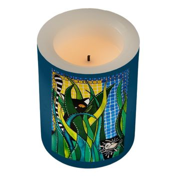 Hunter in Camouflage Whimsical Cat Art Flameless Candle