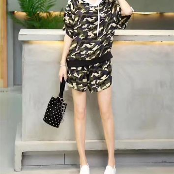"""Adidas"" Women Casual Camouflage Print Hooded Short Sleeve Shorts Set Two-Piece Sportswear"