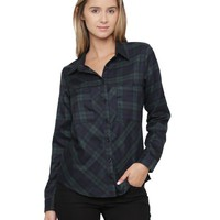ALYGNE Womens Lightweight Pocket Flannel Shirt GREEN-S