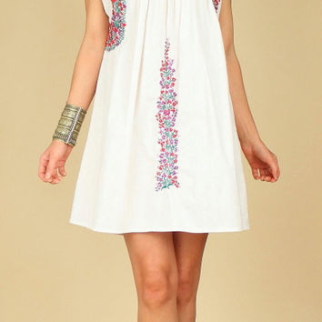ViNtAgE 70's White Floral OAXACAN Artisan Hand Embroidered Mexican MiNi Dress M