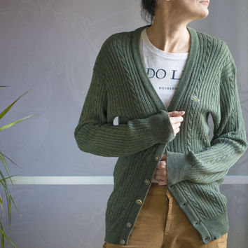 Pure wool cardigan forest green. Unisex sweater oversized Lacoste. Chemise Lacoste pullover size 3. France made tennis sweater men or women