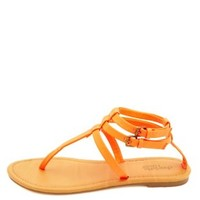 Neon Triple T-Strap Thong Sandals by Charlotte Russe - Bright Coral