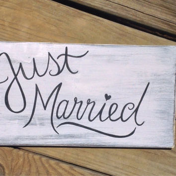 Just Married White Wedding Reclaimed Wood Hand Painted Sign