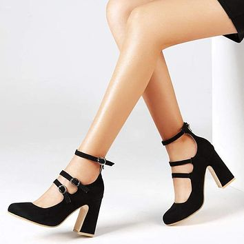 2019 Summer Women Ankle Strap Red Gladiator Pumps High Square Heels Solid Round Toe Sandals Ladies Sexy Fashion Shoes WXG594 Macchar Cosplay Catalogue