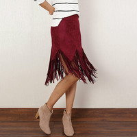 Faux Suede Asymmetrical Tassel Fringed Skirt