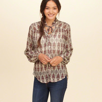 Tie-Neck Button Front Shirt