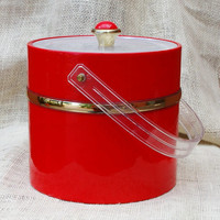 Mid Century Culver Ice Bucket, Red vinyl with Lucite cover and handle