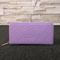 """Chanel"" Women Solid Color Letter Rhombus Grid Long Section Purse Multifunction Zip Wallet Handbag"