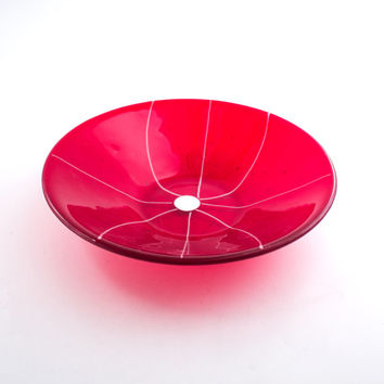 Red Fused Glass Serving Bowl, Unique Design, Decorative Dish, Large Size, Modern Kitchen Accessories, Serve-ware, Handmade Gifts for Her