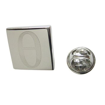 Silver Toned Etched Greek Letter Theta Lapel Pin