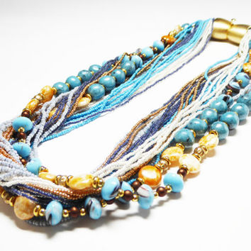 Multi Strand Seed Bead Necklace - 33 Strand Choker - Art Glass Beads - Turquoise Blue, Brown, Yellow Artist Design - 1980's Boutique Jewelry
