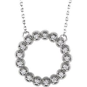 14K White 1/4 CTW Diamond Circle Necklace