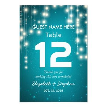 String Lights Wedding Seating Place Table Number Card