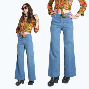 70s Jeans - Bell Bottom Jeans - 70s Pants - Brittania Jeans - High Waisted Jeans - Mid Rise - Boho Bohemian - Vintage Denim - Wide Leg Jeans
