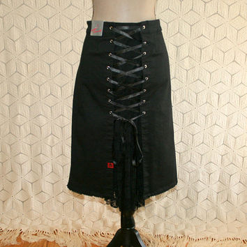 Plus Size Goth Clothing Black Skirt XL Lace Up Pirate Wench Costume Womens Skirts Size 16 Skirt Tripp Plus Size Clothing Womens Clothing