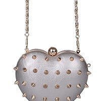 Silver Spiked Heart Purse