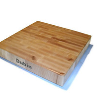 """Cutting Board Personalized Name On The Side - End Grain Maple 14""""x14""""x2"""" with Feet"""
