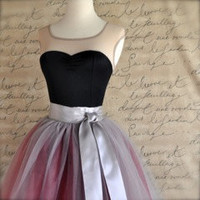 Dove grey and burgundy wine tulle skirt for women. Wide silver satin ribbon waist. Tutus Chic classic women's tutu skirt.