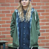 Vintage NEW olive green hooded anorak parka  from Gone Retro