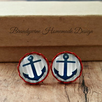 Red and Blue Anchor Earrings, 12mm Round Glass Cabochon Earrings, Trendy Earrings, Stud Earrings, Nautical Earrings