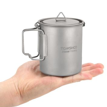 2017 New TOMSHOO 750ml Ultralight Titanium Pot Foldable Handle Titanium Water Mug Cup Outdoor Camping Cooking Picnic With Lid