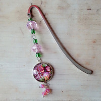 Lilac flower fairy glass bookmark, pink, pixie pagemarker, antique