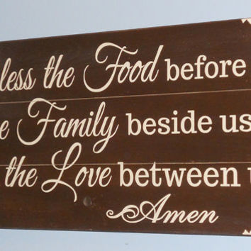 Kitchen Sign Bless The Food Before Us Wood Primitive Country