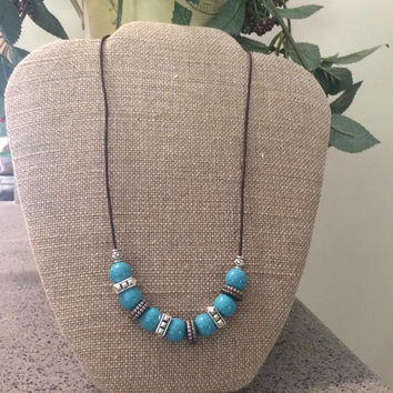 Turquoise Necklace, Brown Leather Necklace, Native American Necklace, Turquoise Silver Necklace