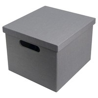 "11"" Gray solid ext & int Lidded Milk Crate"