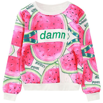 Long Sleeves Watermelon Graphic Sweatshirt