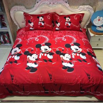 Disney Mickey Mouse and Minnie 3 PCS Bedding Set Red Color Bed Sheet Soft High Quality Bed Sheet Duvet Cover Set For Kids Room