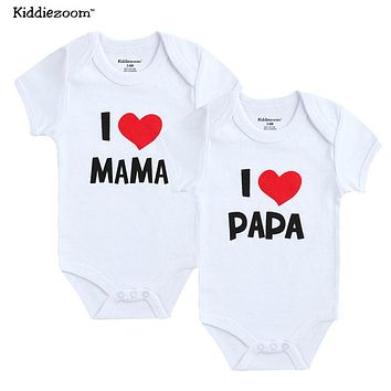 Newborn 2Pse/lot 100% Cotton I Love Papa Mama Design Printing Baby Girl Clothing Brief Rompers