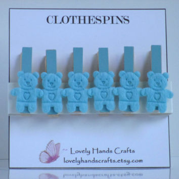 Mini Wood Clothes Pin, Baby Shower Favors, Blue Bear