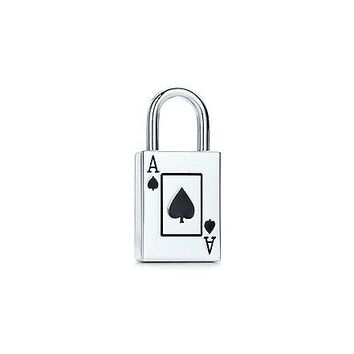 Tiffany & Co. -  Ace of Spades lock charm with black enamel finish in sterling silver.