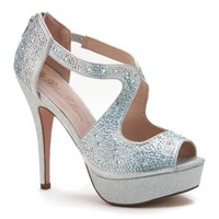 Vice54 Silver Glitter Rhinestone Cutout Peep Toe Platform High Heel Dress Sandal-10