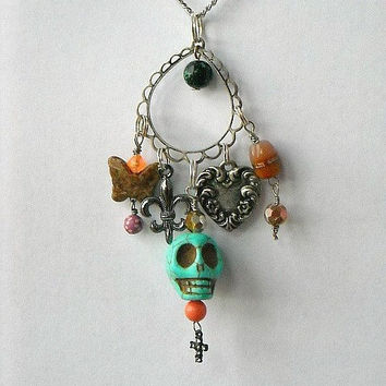 Day of the Dead Turquoise Blue Green Skull Charm by InkandRoses13