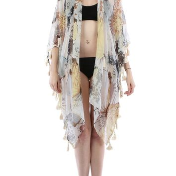 Gray Butterfly Sun Print Sheer Cover Up Poncho