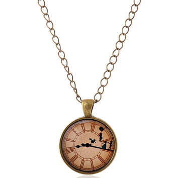 Lureme Time Gem Series Clock with Dancer Disc Pendant Charm Necklace for Women and Girl (01003519)