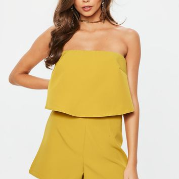 Missguided - Mustard Double Layer Bardot Romper
