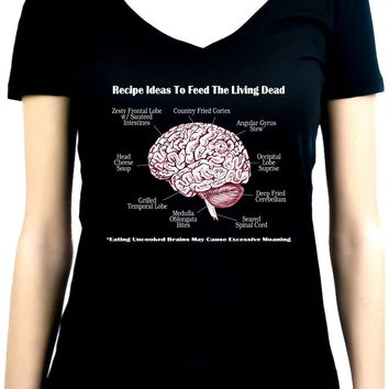 Brain Recipes Ideas for Zombies Women's V-Neck Shirt Top