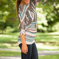 Faded Aztec Top, Gray-Pink