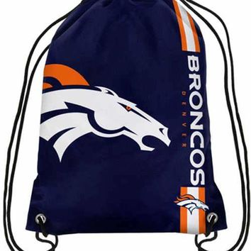 Denver Broncos Hot Sale Polyester Fabric Men Drawstring Backpack Bags Digital Printing Pouch 35*45CM Sports Fan Flag