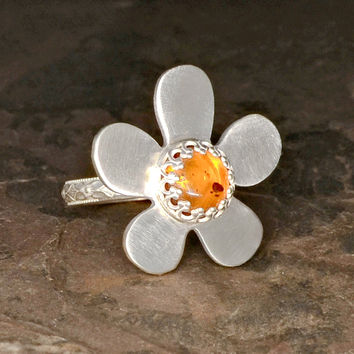Silver Flower Cocktail Ring with Amber Gemstone