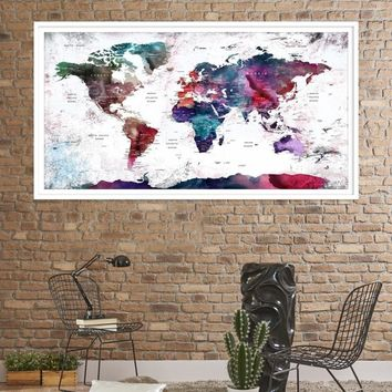 49384 - Large Wall Art World Travel Map Canvas Print - World Map Push Pin Wall Art Canvas Print - Framed Hang on Ready Wall Art Canvas