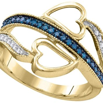 10kt Yellow Gold Womens Round Blue Colored Diamond Double Heart Love Ring 1/5 Cttw