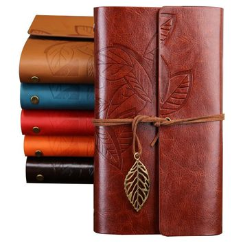 A5 A6 Vintage Faux Leather Travelers Notebook Refillable Spiral Daily Memos Notepad Tree Leaf Composition Paper Bussiness Book