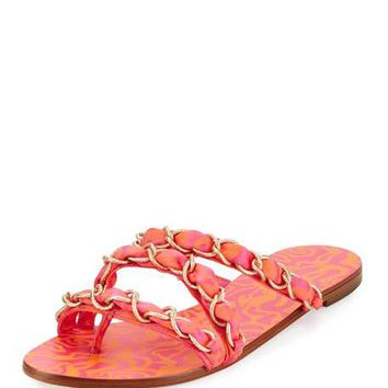 Sophia Webster Taya Woven Satin Chain Flat Sandal, Multi